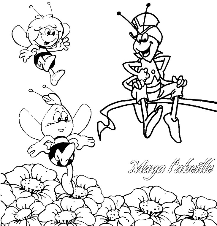 Coloriage a imprimer maya l abeille jouent gratuit et colorier - Maya l abeille coloriage ...