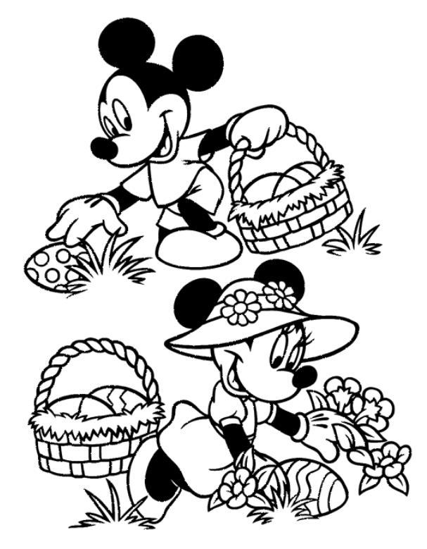 coloriage mickey et minnie cueillent les oeufs de paques