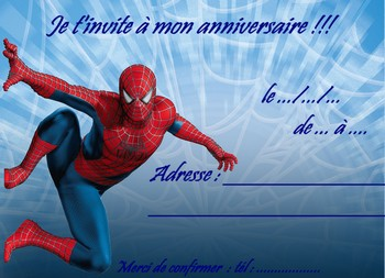 Modele invitation anniversaire spiderman document online for Ou trouver des cartons