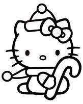 Coloriage hello kitty et son sucre d orge de noel - Hello kitty et mimi ...