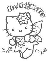 coloriage hello kitty fee papillon