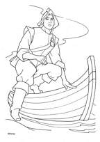 coloriage john smith sort de la barque