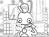 Coloriage lapin cretin se brossant les dents - Lapin cretin a imprimer ...