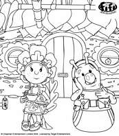 coloriage les floramis boivent le the