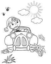 Coloriage oui oui dans sa voiture - Oui oui et sa voiture ...