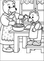 coloriage petit ours brun aide maman ours a cuisiner