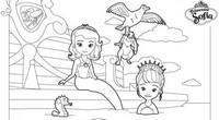 Coloriage princesse sofia joue les sirenes - Coloriage princesse ambre ...