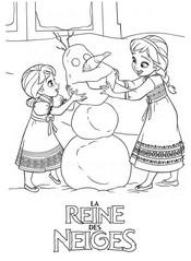 coloriage reine des neige anna et elsa font un bonhomme de neige