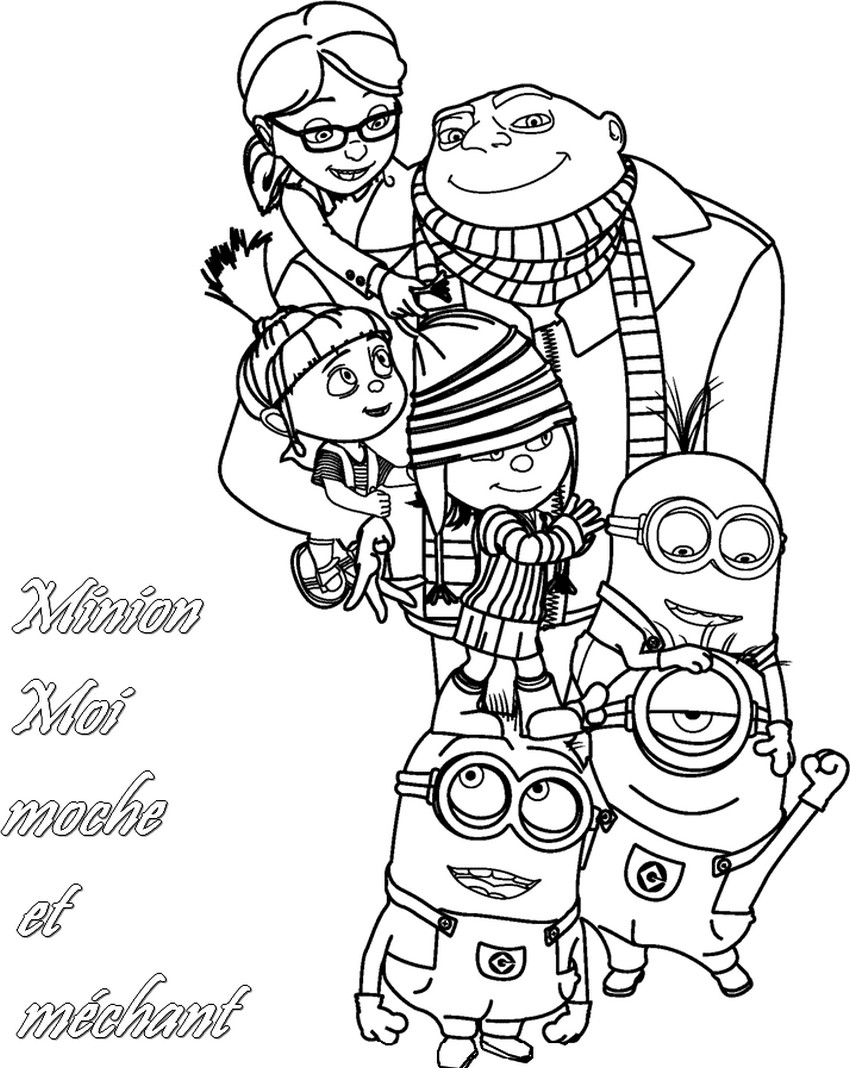 coloriage minion gru edith margo et agnes