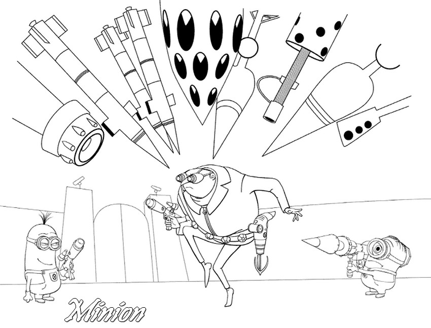 Coloriage a imprimer minion gru et les armes gratuit et colorier - Pistolet a colorier ...