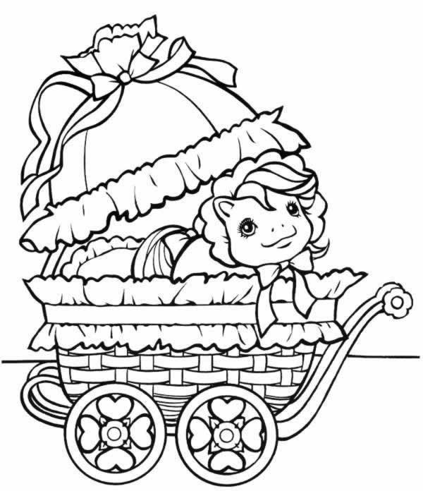 coloriage mon petit poney bebe dans son landeau