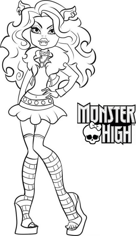 Coloriage a imprimer monster high clawdeen wolf gratuit et - Dessins de monster high ...