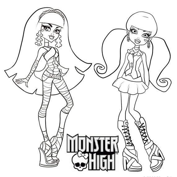 Coloriage a imprimer monster high cleo de nile et draculaura gratuit et colorier - Coloriage a imprimer monster high ...