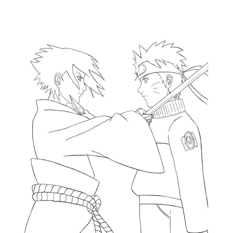 Coloriage A Imprimer Naruto Shippuden Duel Avec Sasuke