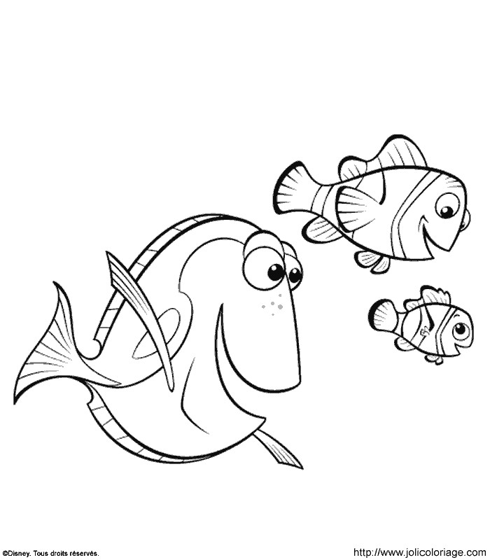 Coloriage a imprimer nemo nage avec ses amis gratuit et - Dessin de nemo ...