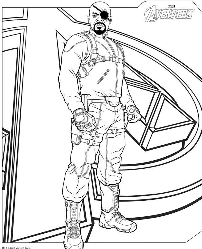 coloriage nick fury avengers