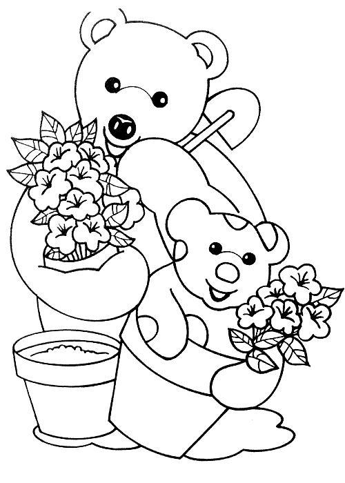 Coloriage a imprimer nounours joue au jardinier gratuit et colorier - Image de nounours a imprimer ...