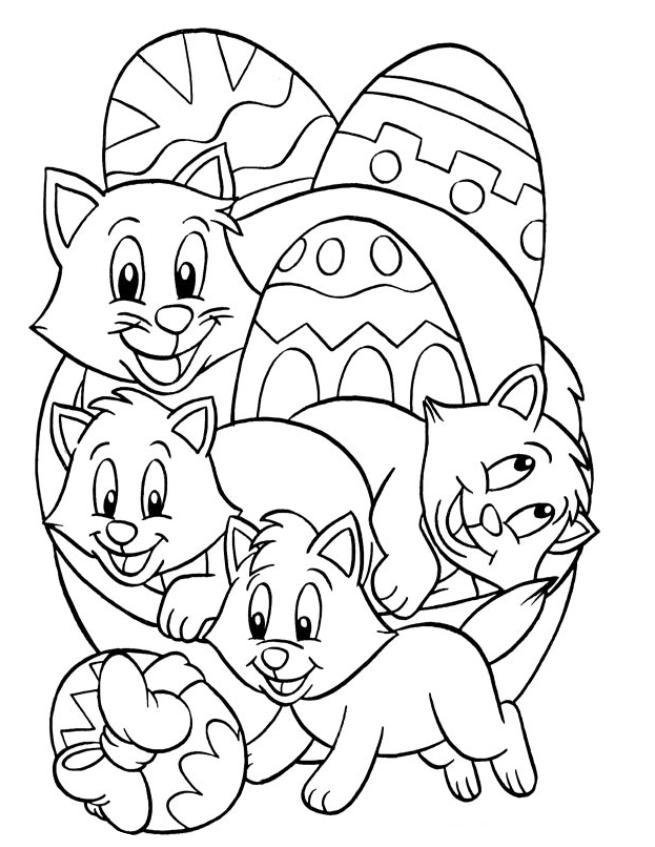Coloriage a imprimer oeufs de paques et chatons gratuit et colorier