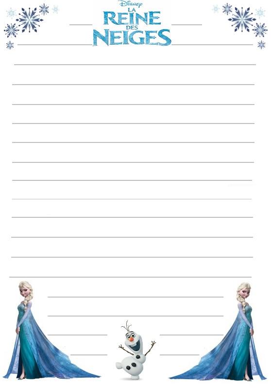 Papier a lettre reine des neiges elsa et olaf a imprimer - Papier peint reine des neiges ...