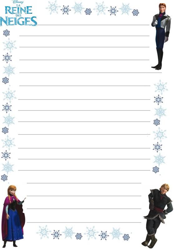 Papier a lettre reine des neiges personnages flocons a - Personnages reine des neiges ...