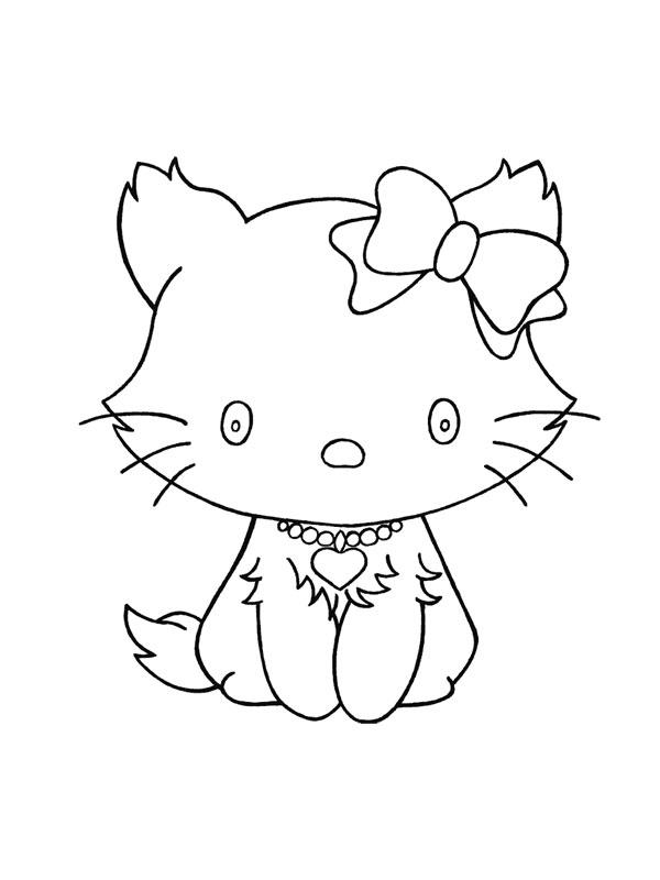 Coloriage a imprimer petit chat hello kitty gratuit et - Coloriages chatons ...