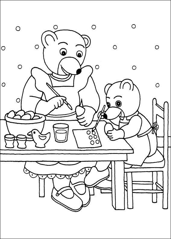 Coloriage a imprimer petit ours brun decore des oeufs de paques avec sa maman gratuit et colorier