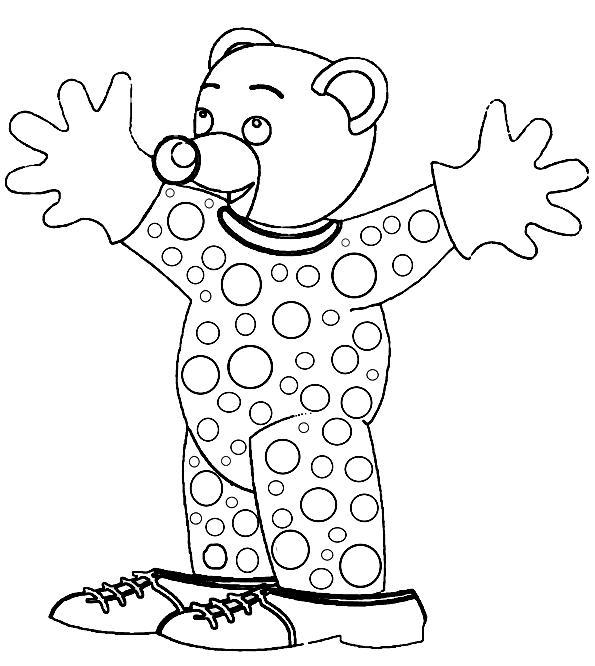 Coloriage a imprimer petit ours brun deguise en clown gratuit et colorier