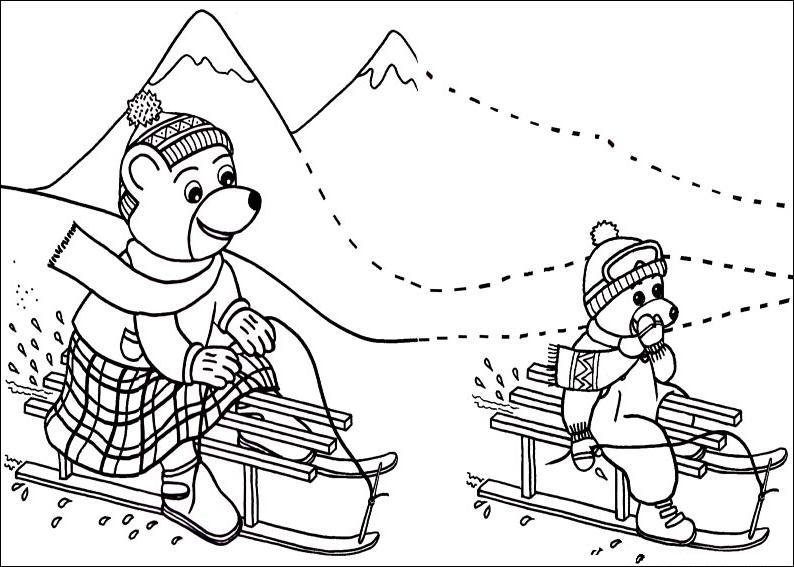 Coloriage a imprimer petit ours brun et sa maman font de la luge gratuit et colorier - Dessin petit ours ...