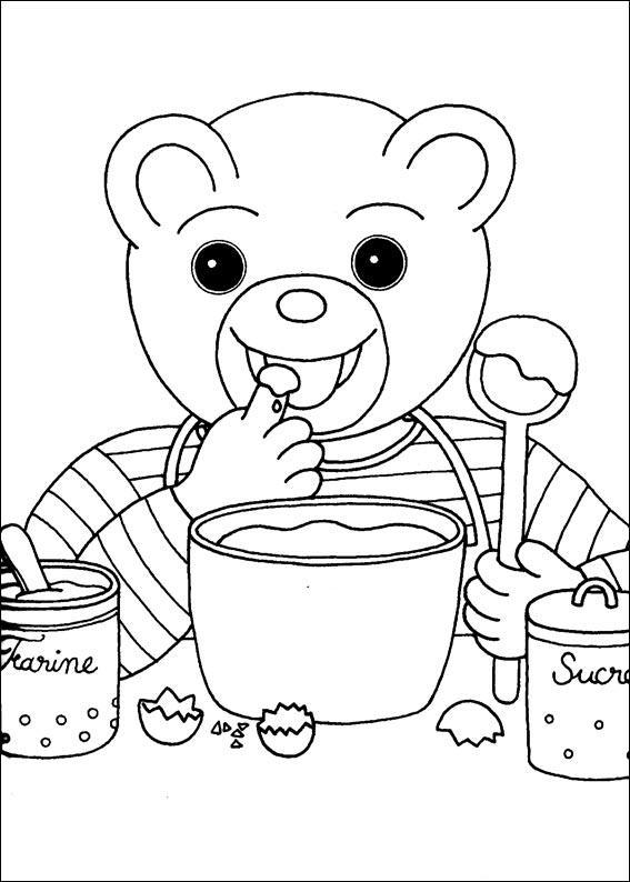 Coloriage a imprimer petit ours brun fait le gourmand - Coloriage petit ours brun a imprimer ...