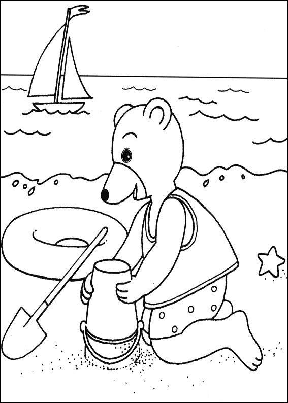 Coloriage a imprimer petit ours brun fait un chateau de for A la piscine dessin