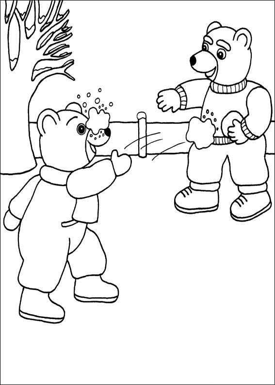 Coloriage a imprimer petit ours brun fait une bataille de boules de neige gratuit et colorier - Petit ours dessin anime ...
