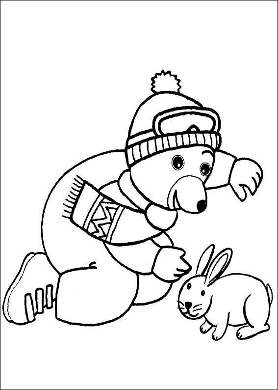 Coloriage a imprimer petit ours brun joue avec le lapin - Coloriage petit ours brun a imprimer ...