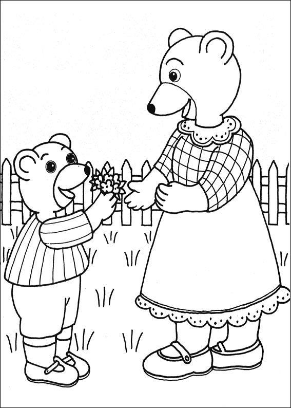 Coloriage a imprimer petit ours brun offre des fleurs a - Coloriage de maman ...