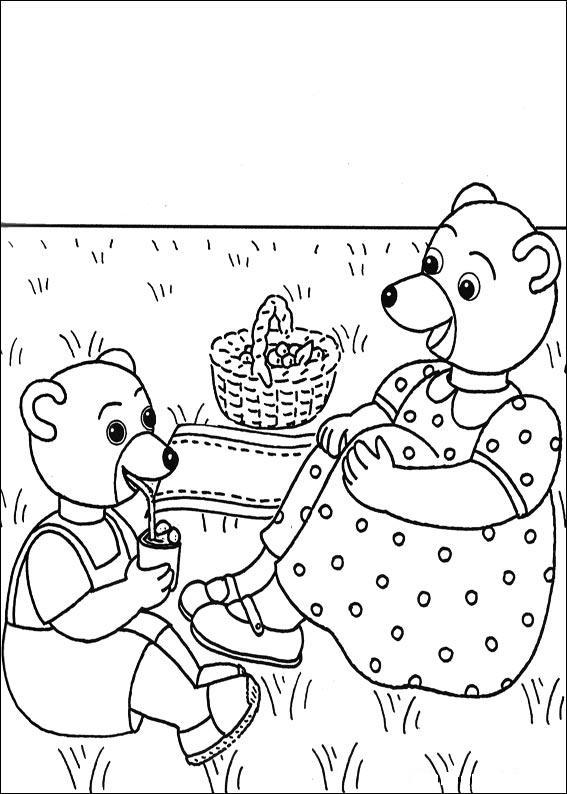 Coloriage a imprimer petit ours brun pique nique avec - Coloriage petit ours brun a imprimer ...