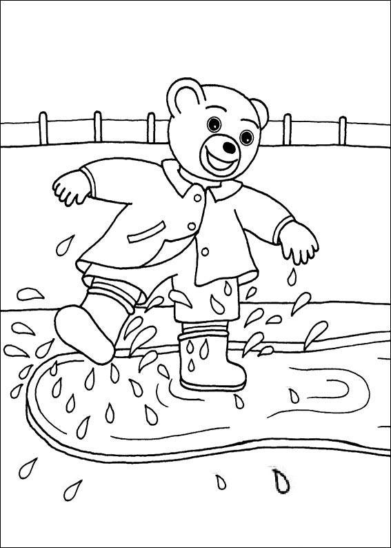 Coloriage a imprimer petit ours brun saute dans une flaque gratuit et colorier - Petit ours dessin anime ...
