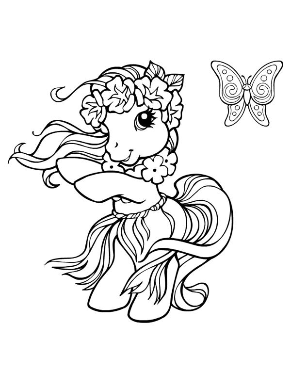 Coloriage a imprimer petit poney danse hawaienne gratuit et colorier - Coloriage hawaienne ...
