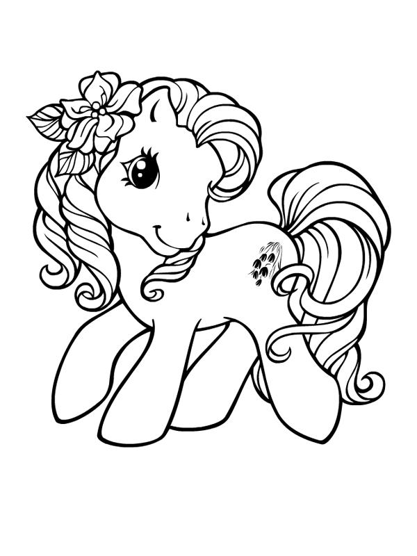 Coloriage a imprimer petit poney et fleurs dans criniere gratuit et colorier - Coloriage petit poney ...