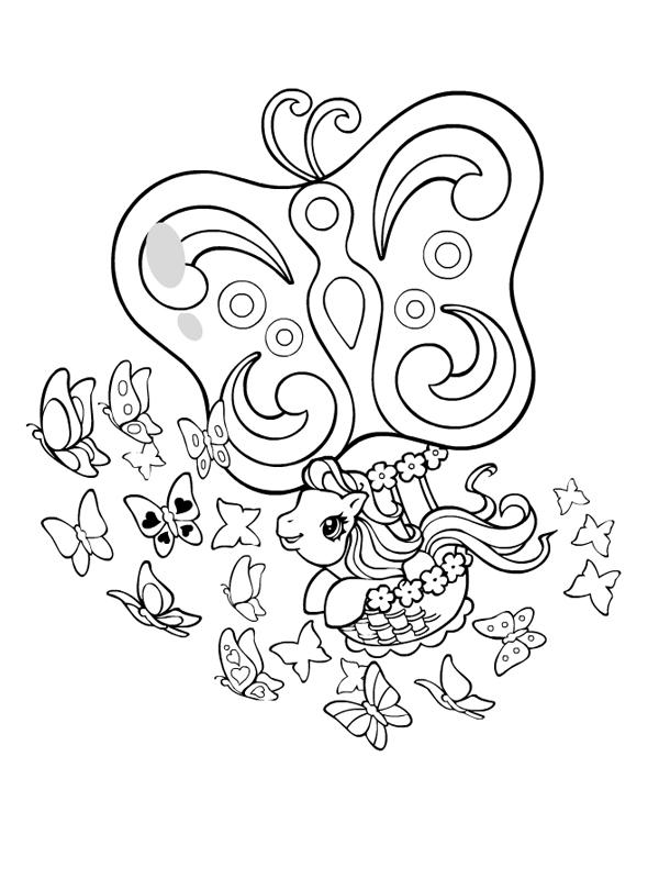 Coloriage a imprimer petit poney et la mongolfiere papillon gratuit et colorier - Coloriage petit poney ...