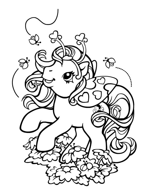 Coloriage a imprimer petit poney et les cocinelles gratuit - Petit poney coloriage ...