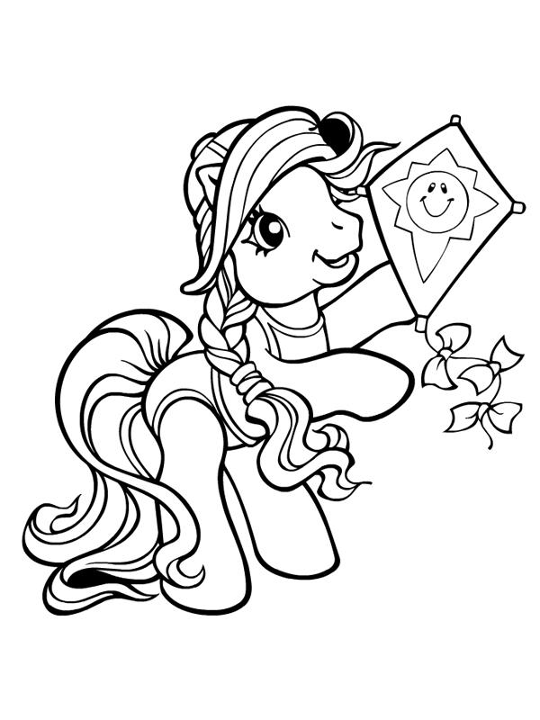 Coloriage a imprimer petit poney et son cerf volant - My little pony gratuit ...