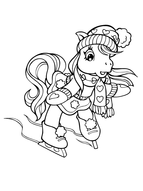 Coloriage a imprimer petit poney fait du patin a glace gratuit et colorier - Coloriage petit poney ...