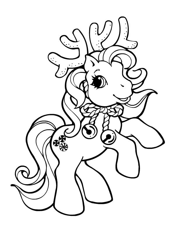 Coloriage a imprimer petit poney renne de noel gratuit et - Dessin renne de noel ...