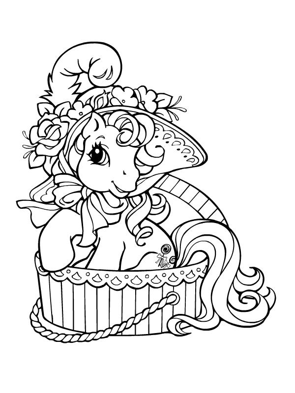 Coloriage a imprimer petit poney sort de sa boite gratuit - Petit poney coloriage ...