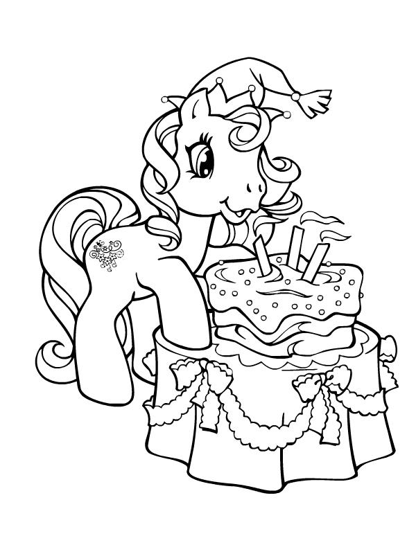 Coloriage a imprimer petit poney souffle ses bougies gratuit et colorier - Coloriage petit poney ...