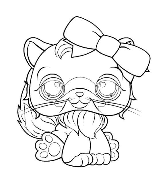 Coloriage a imprimer petshop chat avec noeud gratuit et - Noeud coloriage ...