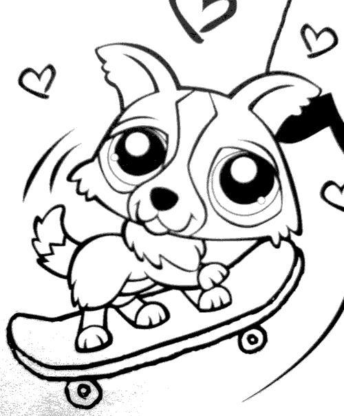 coloriage a imprimer petshop chien skatteur gratuit et. Black Bedroom Furniture Sets. Home Design Ideas