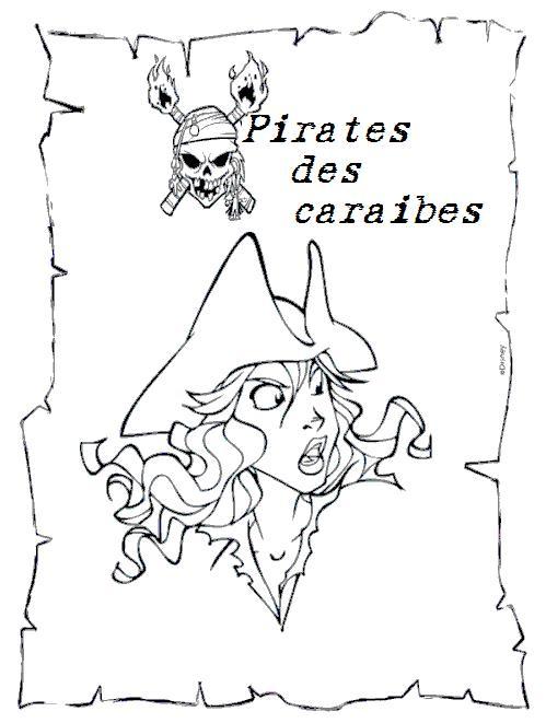 Coloriage a imprimer pirates des caraibes elisabeth - Dessin pirate des caraibes ...