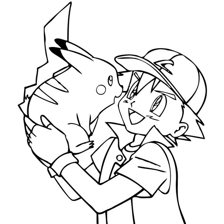 Coloriage A Imprimer Pokemon Sacha Et Pikachu Complices Gratuit Et