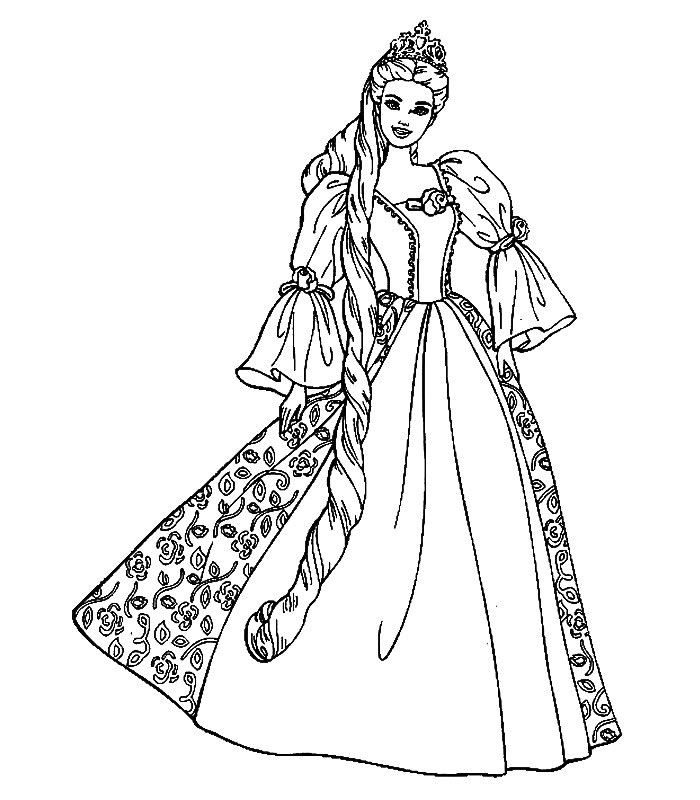 Coloriage a imprimer princesse barbie gratuit et colorier - Barbie princesse coloriage ...