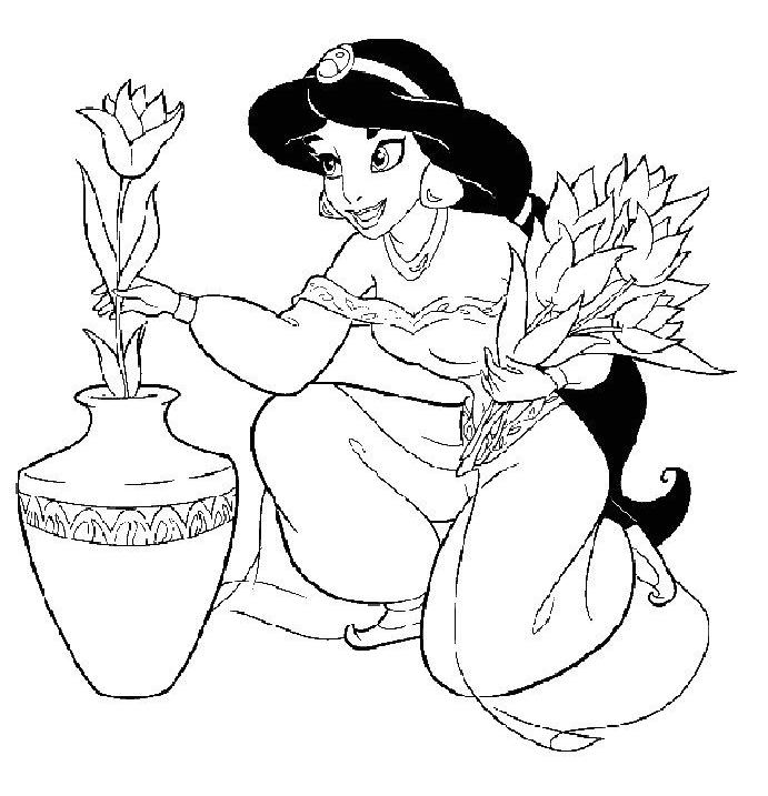 Coloriage a imprimer princesse jasmine et le vase de - Coloriage a imprimer de princesse gratuit ...
